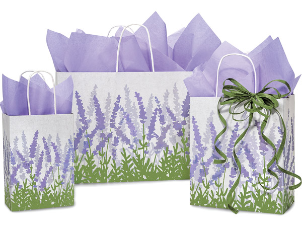 Lavender Field Paper Shopping Bags