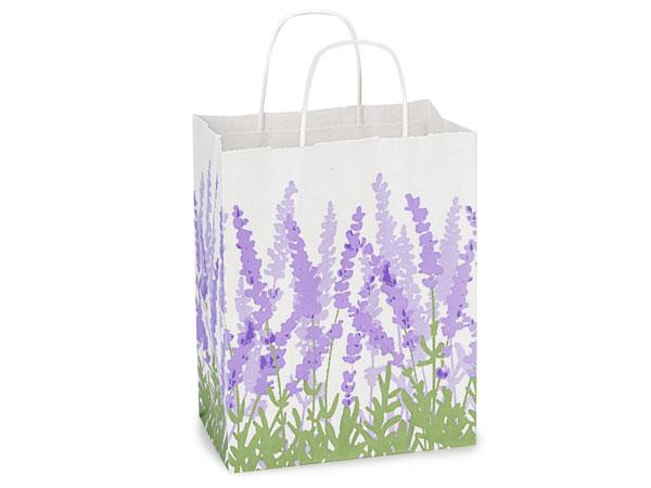 "Lavender Field White Kraft Bags Cub 8x4.75x10.25"", 25 Pack"