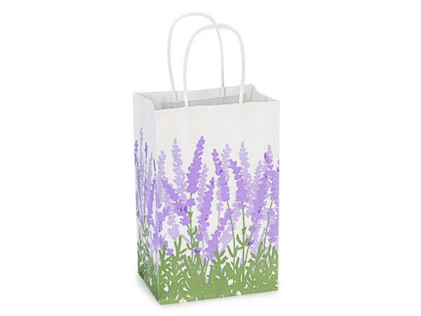 Rose Lavender Field White Kraft Bags 25 Pk 5-1/2x3-1/4x8-3/8""