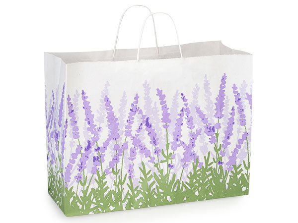 "Lavender Field White Kraft Bags Vogue 16x6x12"", 25 Pack"