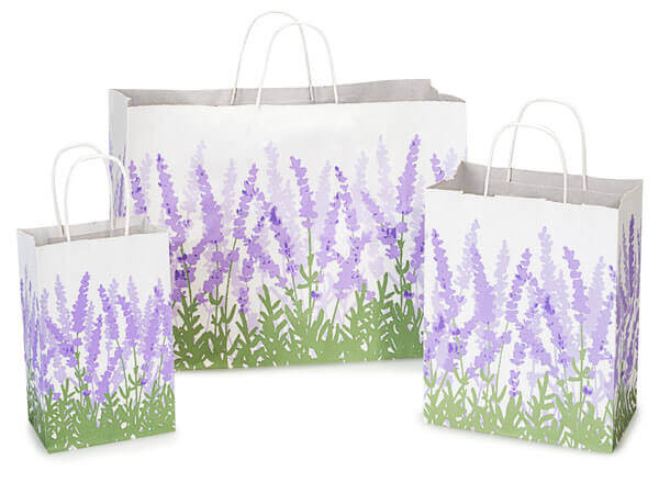Lavender Field White Kraft Bags, Small 25 Pack Assortment
