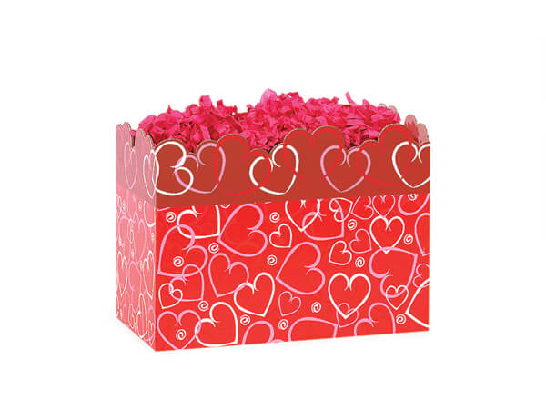 *Small Layered Hearts Basket Boxes 6-3/4x4x5""