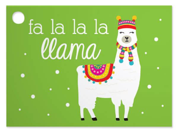 Fa La La Llama Theme Gift Cards, 3.75x2.75, 6 Pack