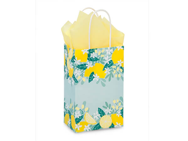 "Lemon Blooms Paper Shopping Bag, Rose 5.5x3.25x8.5"", 250 Pack"