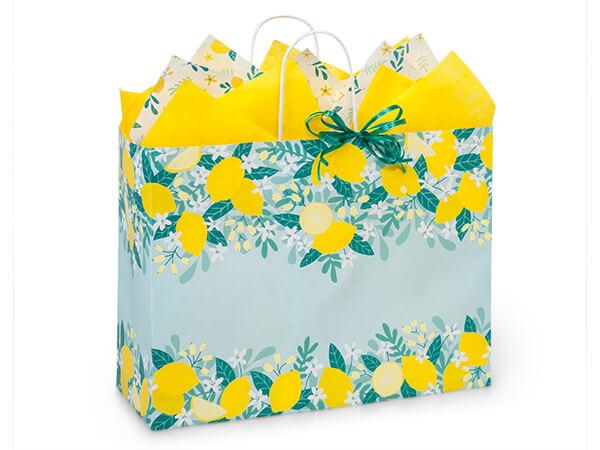 "Lemon Blooms Paper Shopping Bag, Vogue 16x6x12"", 250 Pack"