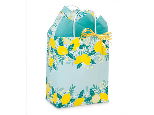 "Lemon Blooms Paper Shopping Bag, Cub 8x4.75x10.25"", 25 Pack"