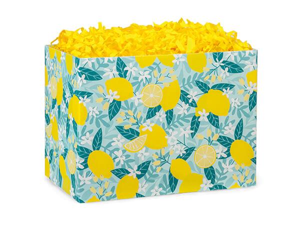 "Lemon Blooms Basket Box, Small 6.75x4x5"", 6 Pack"