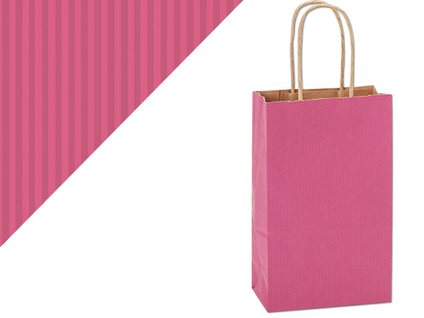 """Lipstick Pink Shadow Stripe Bags Rose 5.5x3.25x8.375"""", 250 Pack"""