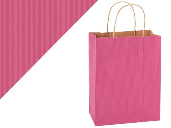 "Lipstick Pink Shadow Stripe Bags Cub 8x4.75x10.5"", 25 Pack"
