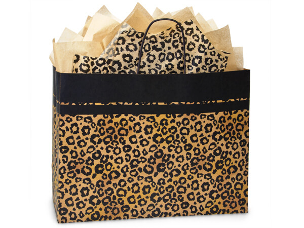 "Leopard Safari Recycled Paper Bags Vogue 16x6x12.5"", 250 Pack"