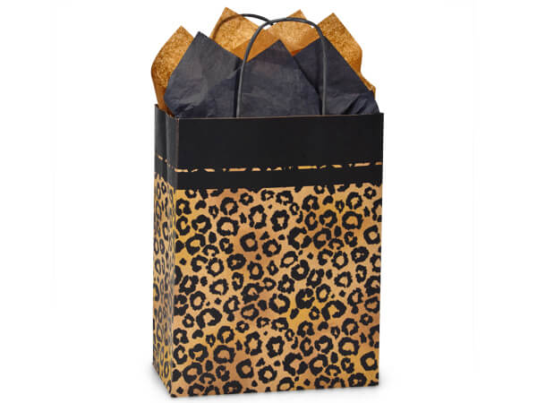 "Leopard Safari Recycled Paper Bags Cub 8.25x4.75x10.5"", 25 Pack"