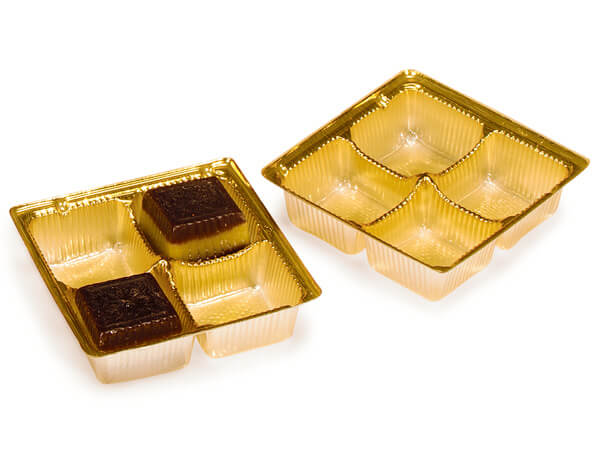 "3-1/2x3-1/2x1"" Gold Candy Trays, 500 pack"
