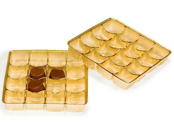 "100 pack 5-1/2x5-1/2x1""  Gold Trays"