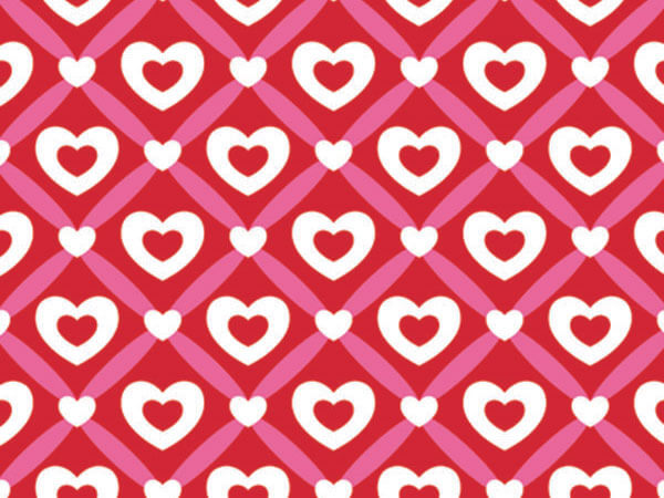 "Heart Lattice Wrapping Paper 18""x417', Half Ream Roll"