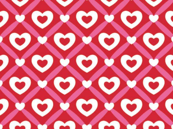 "Heart Lattice Wrapping Paper 24""x417', Half Ream Roll"