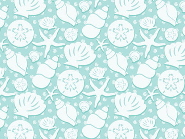 "Seashells 24""x417' Gift Wrap Half Ream Roll"