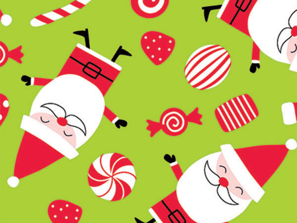 "Peppermint Santa 24""x100' Gift Wrap Roll"