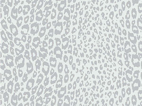 "Silver Cheetah 18""x833' Gift Wrap Full Ream Roll"