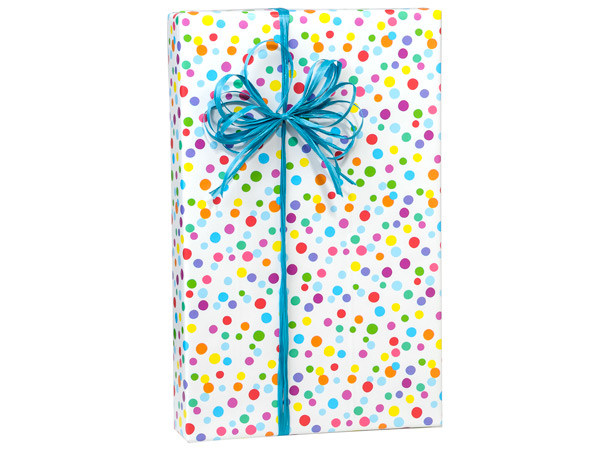 "Pastel Dots 24""x833' Gift Wrap Full Ream Roll"