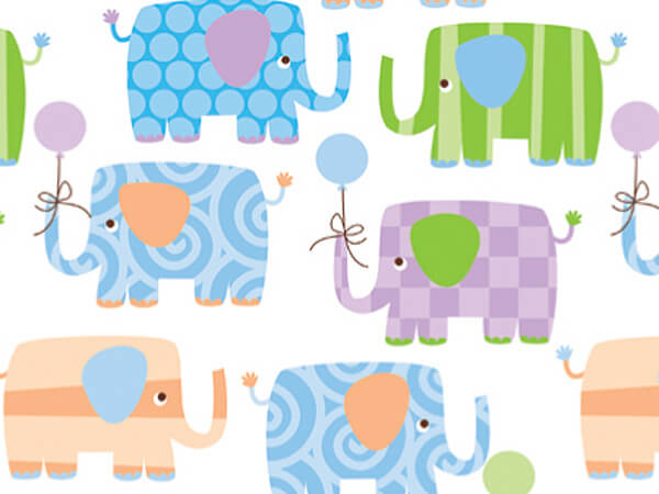 "Baby Elephants 18""x417' Gift Wrap Half Ream Roll"