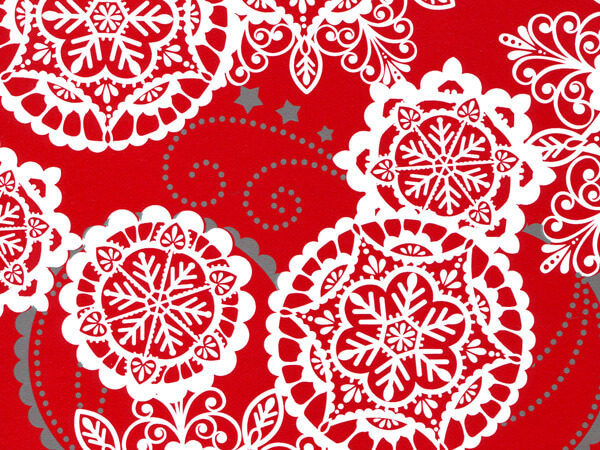 """Lacy Snowflakes 24""""x417' Gift Wrap Half Ream Roll"""
