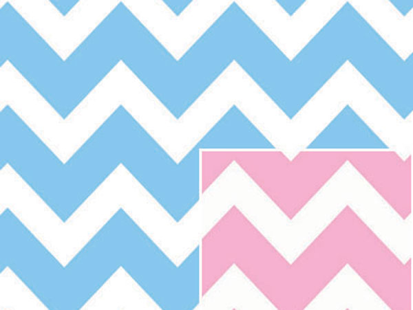 "Reversible Baby Chevron 24""x100' Gift Wrap Roll"