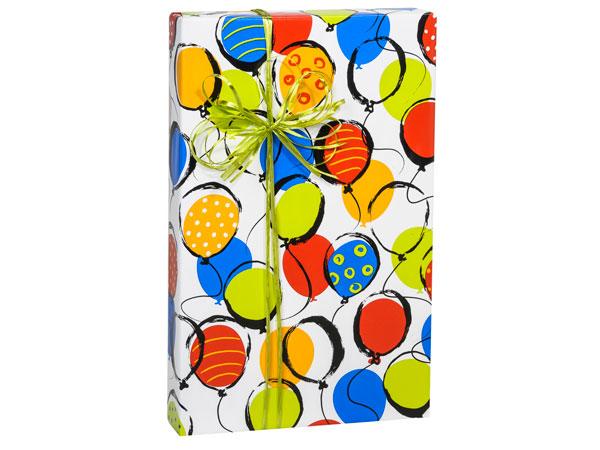 "Balloon Pop! 18""x833' Gift Wrap Full Ream Roll"