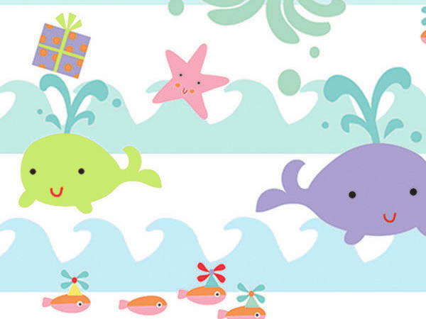 "Sea Babies 24""x100' Gift Wrap Roll"