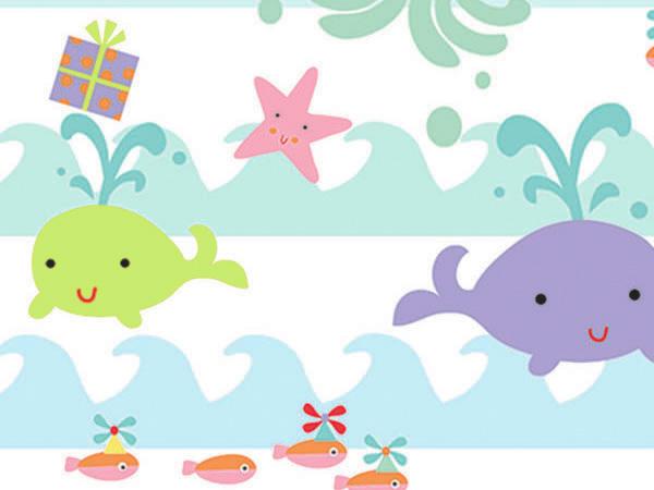 "Sea Babies 24""x417' Gift Wrap Half Ream Roll"