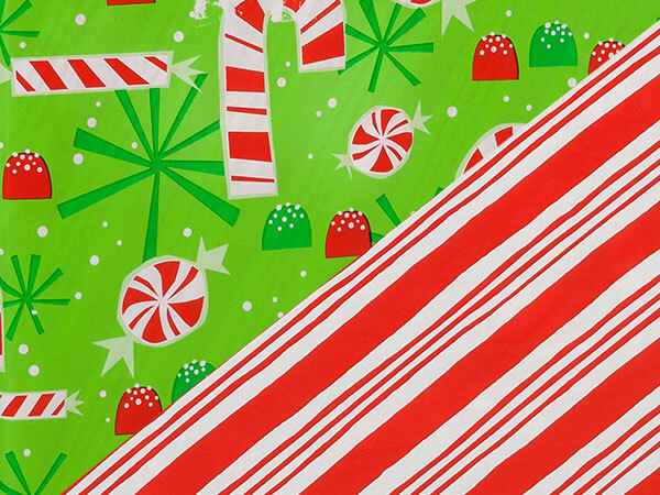 "Candy Canes Reversible 24""x417' Gift Wrap Half Ream Roll"