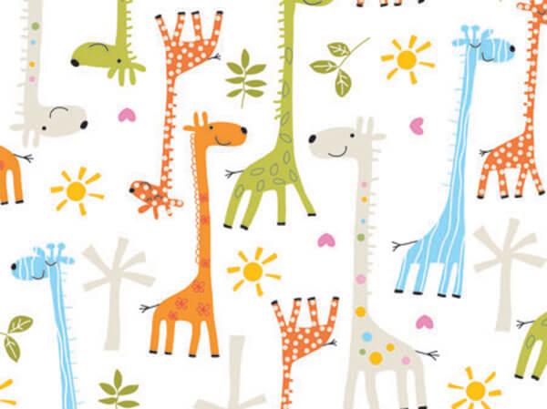 """Baby Giraffes 18""""x833' Gift Wrap Full Ream Roll"""