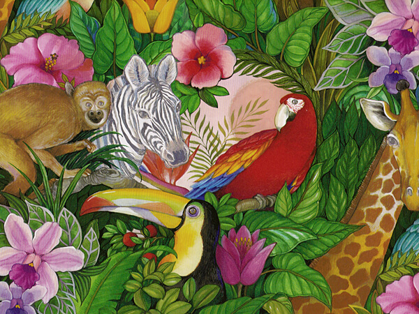 "Jungle Paradise Ultra Gloss 18""x417 Gift Wrap Half Ream Roll"