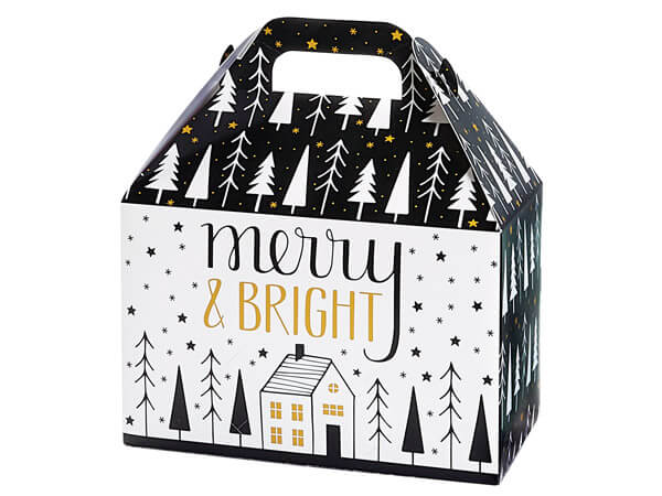 """Merry and Bright Gable Box, 8.5x5x5.5"""", 6 Pack"""