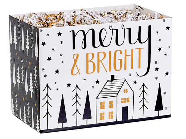 """Merry and Bright Basket Boxes Large, 10.25x6x7.5"""", 6 Pack"""