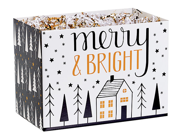 """Merry and Bright Basket Box, Small 6.75x4x5"""", 6 Pack"""