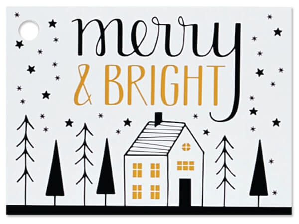 """Merry and Bright Theme Gift Cards 3.75x2.75"""", 6 Pack"""