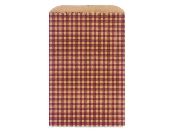 "Burgundy Gingham Kraft Paper Merchandise Bags, 6.25x9.25"""