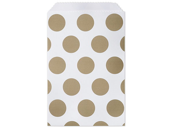 Gold Polka Dots Paper Merchandise Bags, 6.25x9.25""
