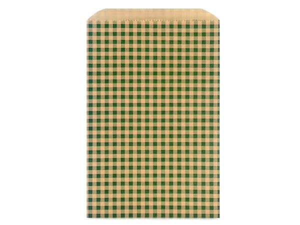 "6-1/4x9-1/4"" Hunter Gingham Recycled Merchandise Bags 35lb"
