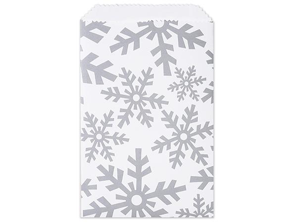 "Silver Snowflake Paper Merchandise Bags, 6.25x9.25"""