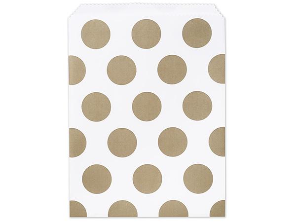 """8-1/2x11"""" Gold Dots Paper Merchandise Bags 35lb"""