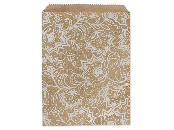 """Lace Kraft Paper Merchandise Merchandise Bags, 8.5x11"""""""