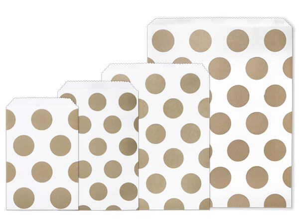Gold Polka Dots Paper Merchandise Bag Assortment