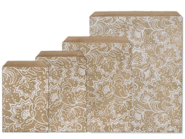 Lace Kraft Paper Merchandise Bag Assortment