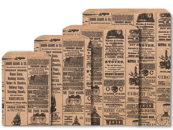 Newsprint Kraft Paper Merchandise Bag Assortment