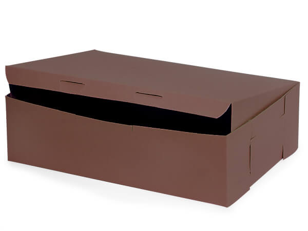 "14x10x4"" Chocolate Bakery Boxes 5 Pk 1-piece Lock Corner Box"