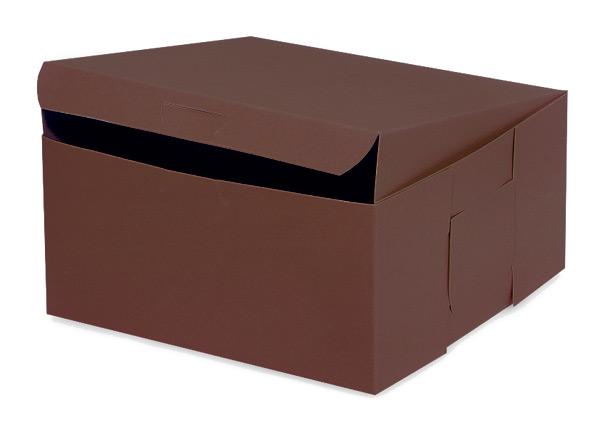 "8x8x4"" Chocolate Bakery Boxes 10 Pk 1-piece Lock Corner Box"