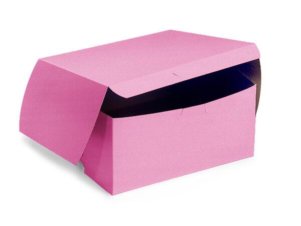 "6x6x3"" Pink Bakery Boxes 10 Pk 1-piece Lock Corner Box"