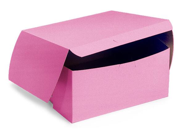"7x7x4"" Pink Bakery Boxes 10 Pk 1-piece Lock Corner Box"
