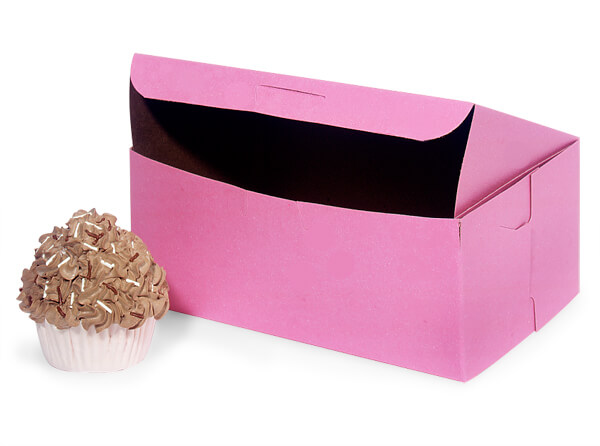 "8x4x4"" Pink Bakery Boxes 10 Pk 1-piece Lock Corner Box"